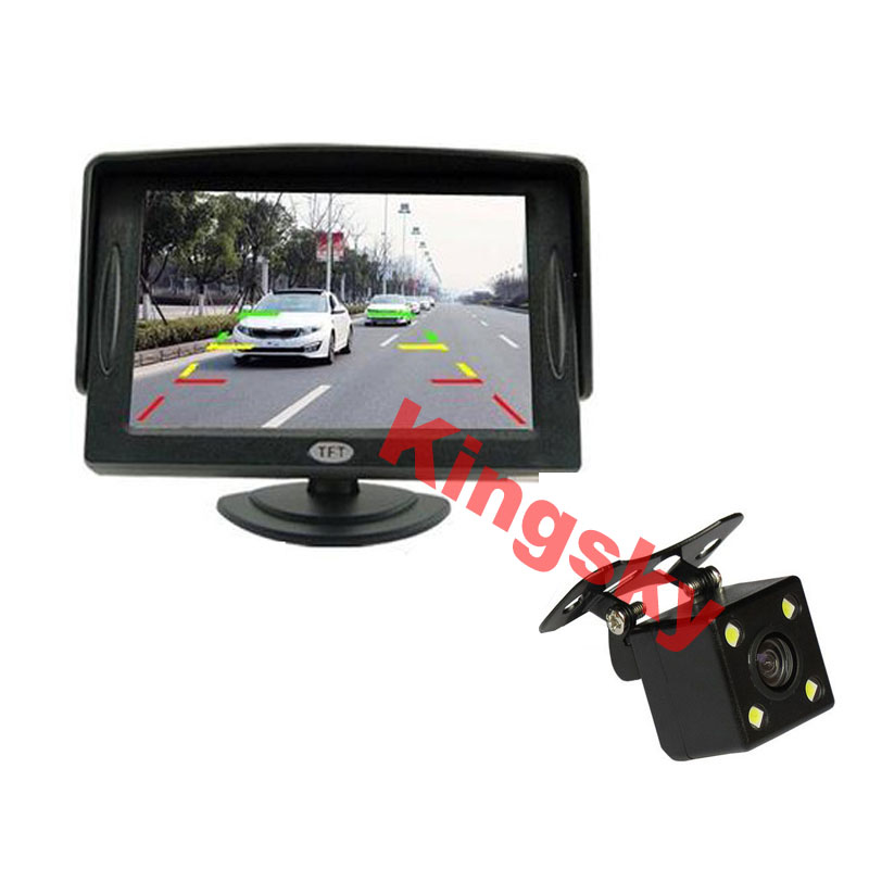 Free Shipping, LED Night Vision Car Rearview Reversing Camera Parking Backup Monitor System + 4.3 inch Color LCD Car Monitor(Hong Kong)