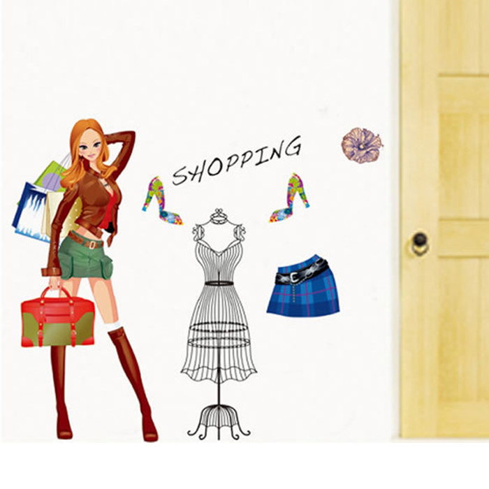 Fashion sexy lady girl woman shopping wall stickers shop window glass decals living room bedroom - Wall decor stickers online shopping ...