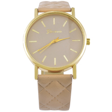 Simple Classic Women Dress Wristwatches Casual Fashion Analog Quartz Watch Plaid PU Leather Watch Strap Candy Color Luxury Style(China (Mainland))