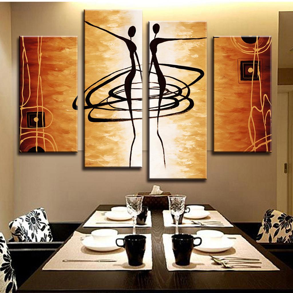 Hot 4 Pcs/Set Modern Abstract Figures Painting Printed on Canvas Dance Lover Figures Golden Wall Art for Home Decor(China (Mainland))