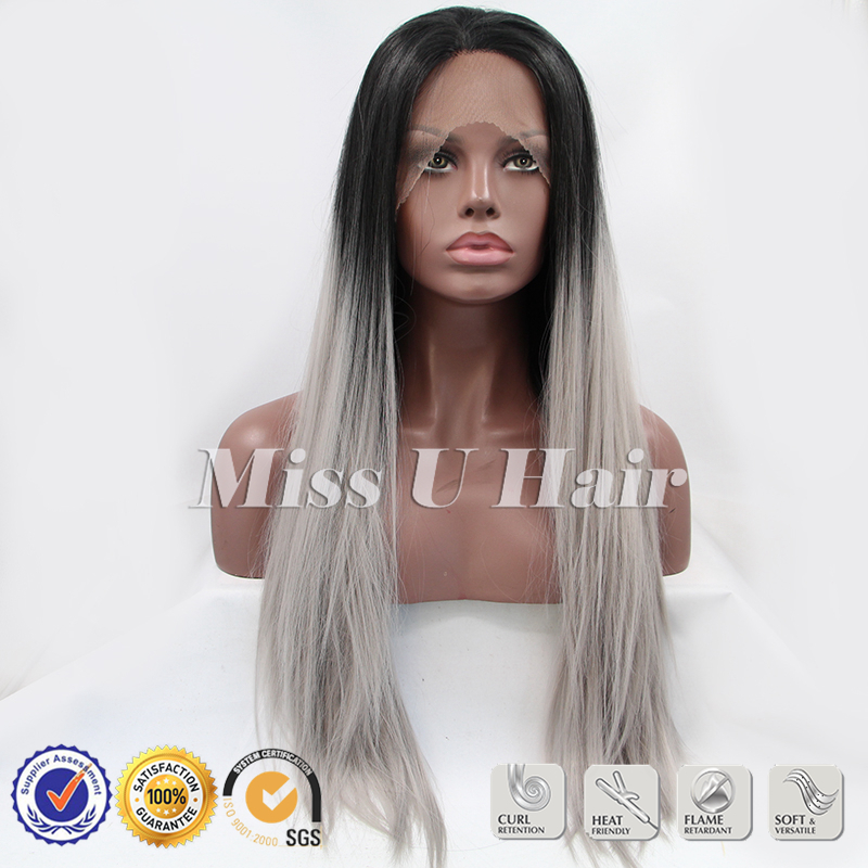 Black ombre grery hair straight gray synthetic lace front wig in stock free shipping<br><br>Aliexpress