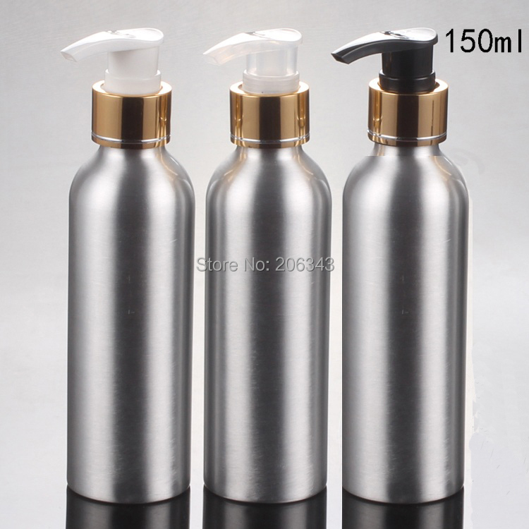 100pcs 150ml Aluminium bottle metal bottle with  gold collar white/black/transparent pump
