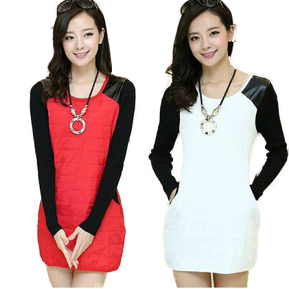 2015 Women Autumn Winter woolen sleeve Thick warm wool Mini Necklace dress, The down fabric PU leather shoulder casual dress(China (Mainland))