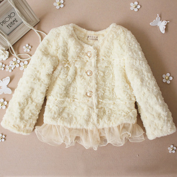 Free shipping brand baby coat Winter 2016 baby clothing Girls Korean explosion models pearl lace plush leather jacket grass