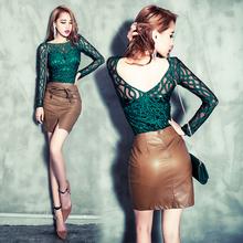 blusas femininas 2015 women sexy backless embroidery stripe perspective wave gauze slim long-sleeve basic shirt top(China (Mainland))