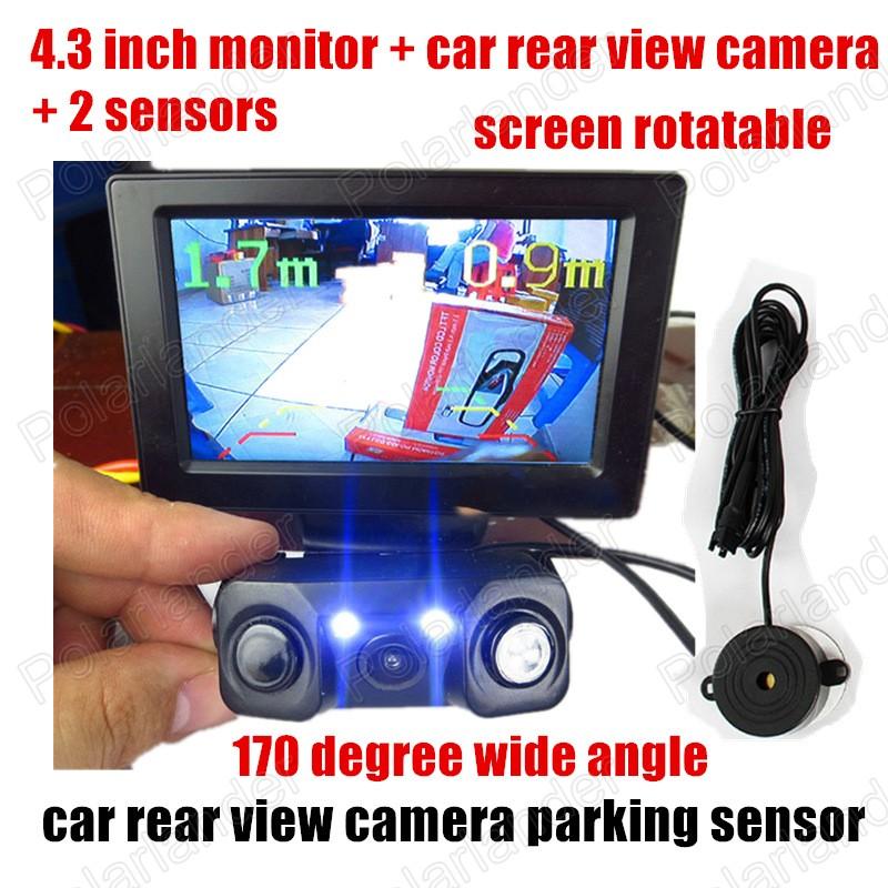 New Parking Monitor System LED Car Rear View Camera Parking Backup Camera 2 Sensors HD 4.3 inch Car Mirror Monitor<br><br>Aliexpress