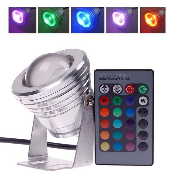 Wholesale 10W LED integrated RGB color spotlights colorful aquarium fountain pool underwater landscape 12V with remote control(China (Mainland))