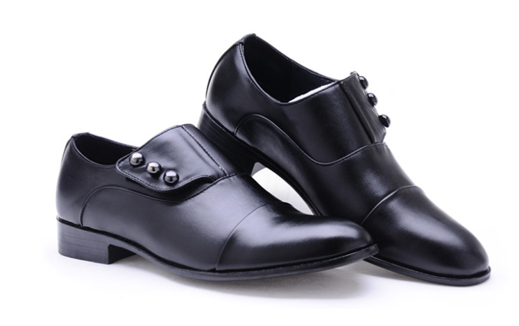 NEW Italy Men's wedding leather shoes Fashion Pointy hook & loop Style Casual Leather shoes business shoes Prom shoes 4NX73(China (Mainland))