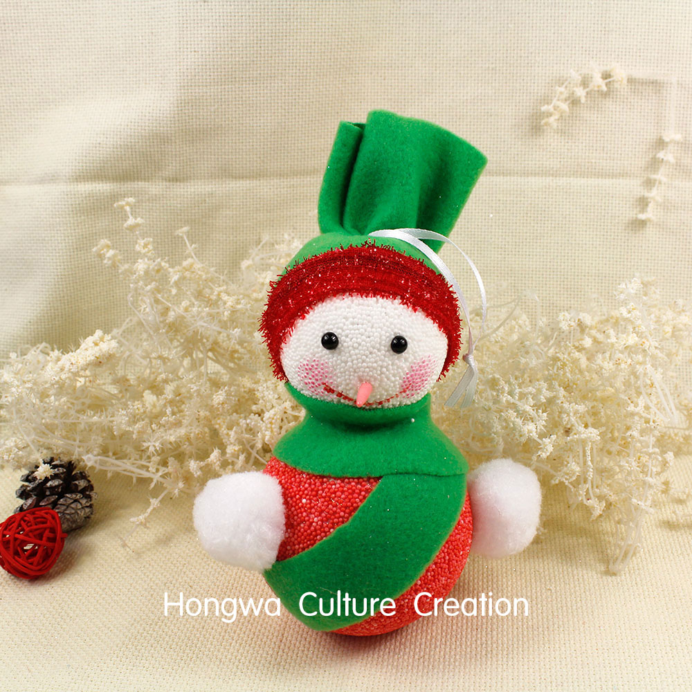 8*19CM 2pcs Snowman Foam Green Hat and Scarf Pink Red Snowman Christmas Tree Decoration Xmas Ornaments Small Head(China (Mainland))