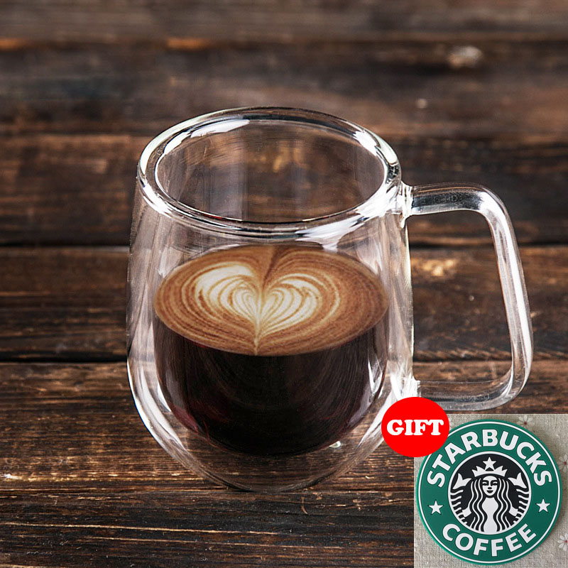 250ml Handmade Healthy Coffee Cups and Mugs Double Wall Glass Coffee Cups Heat Resistant Glass Cups Thermal Insulated Creative(China (Mainland))
