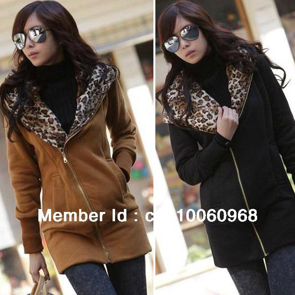 Vogue Women Hoody Feminine Long Sleeve Leopard Warm Winter Hoodies Jacket Coat Sport Suit Outerwear Big Size Free Shipping 0118