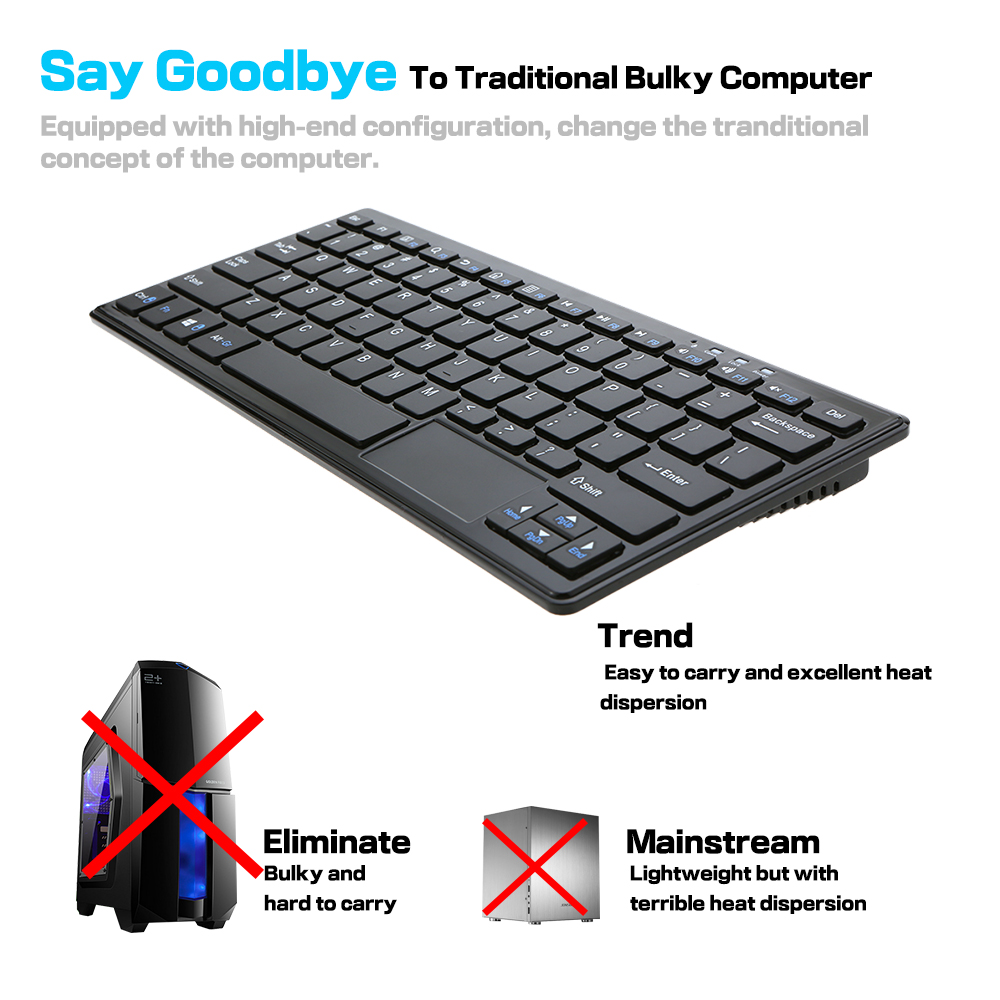 Portable 2GB+32GB Mini PC For Windows 10 All in One Keyboard PC Thin Client 72 Key for Intel core HD VGA TF Card Slot Wifi BF(China (Mainland))