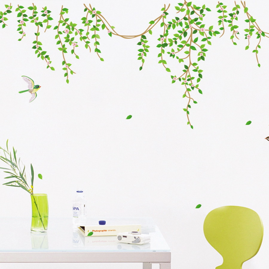 DIY Removable Green Flower Vine Flying Bird Creative Wall Stickers Living room Bedroom Decor House Decoration(China (Mainland))