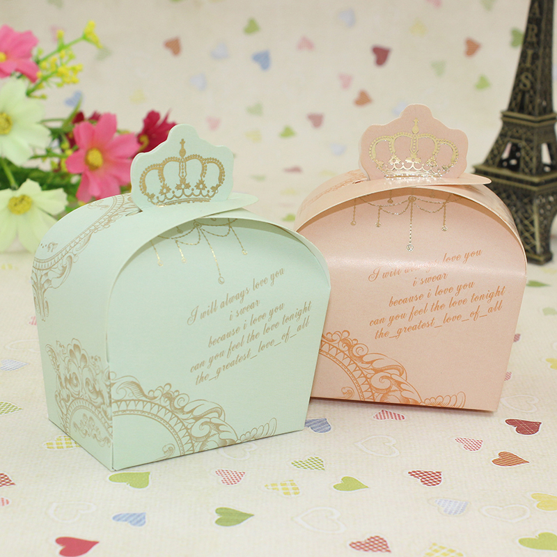 Free Shipping Hight Quality Crown Favor Candy Box Green & Pink Wedding Chocolate Paper Box Candy Box Party Gift Decoration(China (Mainland))