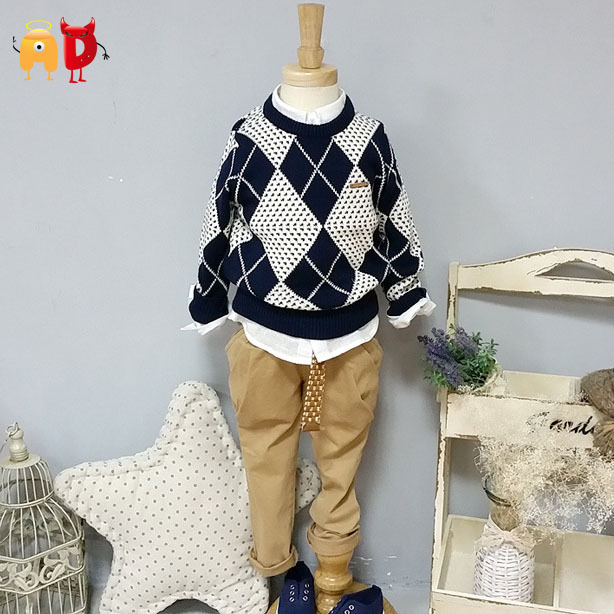 AD Classical Kids Thick Sweaters Age 2-10 Boys Girls Winter Warm 95% Cotton Children's Softening Clothing Clothes - Angel vs Devil store