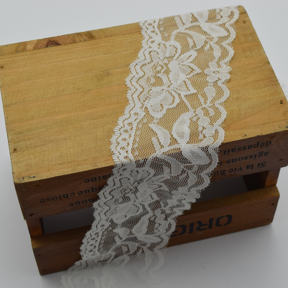 10yards White Stretch Floral Scallop Lace Trim forl Lingerie Headband Elastic DIY lace wide:6cm(China (Mainland))
