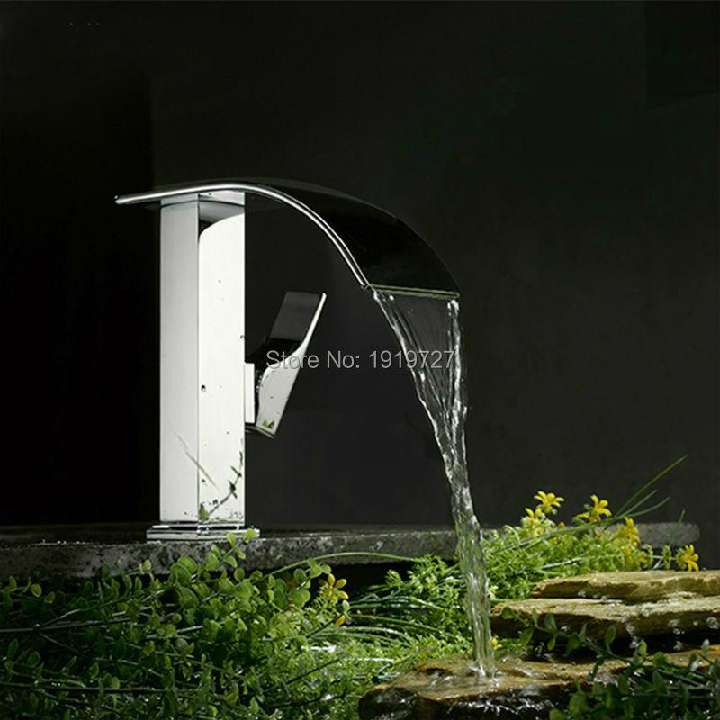 Bathroom Sink Basin Mixer Tap Chrome Brass Square Glass Waterfall Faucet Torneiras Banho E Cozinha Bath(China (Mainland))