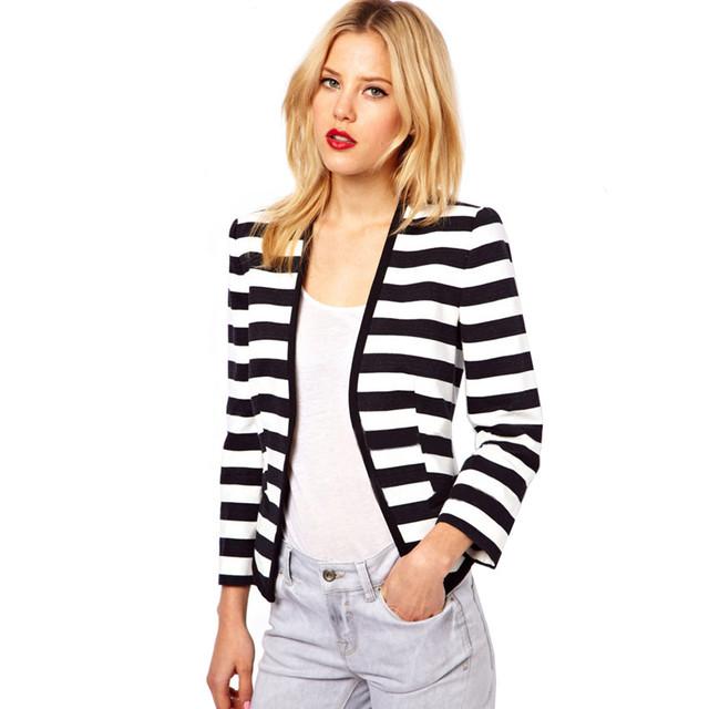 Женщины весной основной куртка женский полосатый верхняя одежда и пальто талией мода ...
