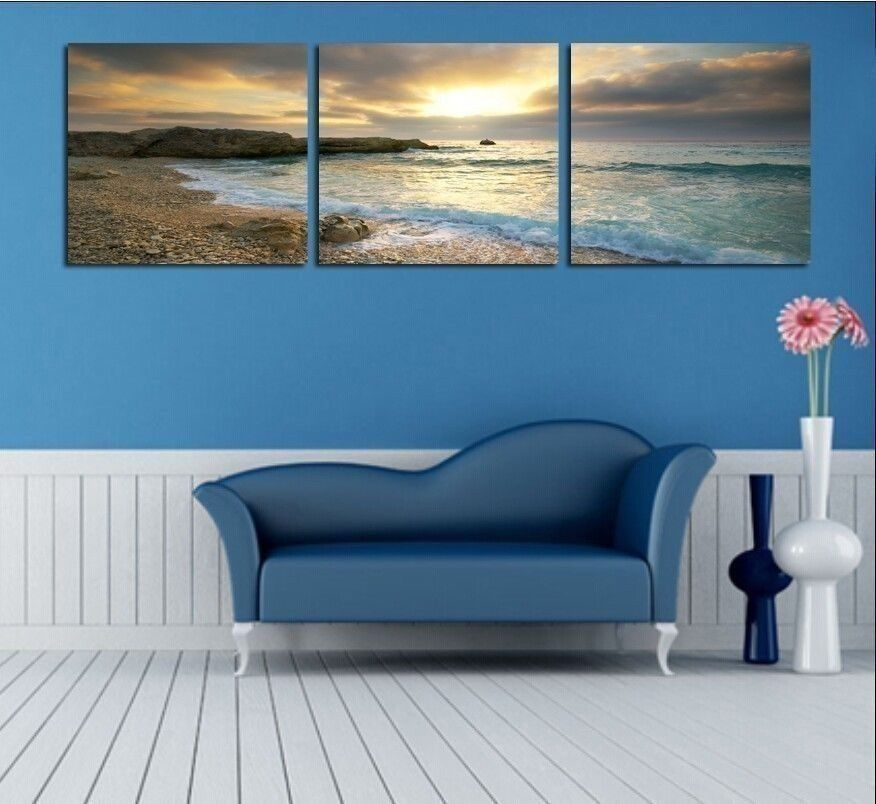 NOT FRAMED Canvas Print Home Decoration Modern Bedroom Wall Art Seascape Blue
