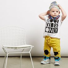 2016 Baby Boy Summer Clothes Cotton Short Sleeve White Letter Print Boys Tees + Knee Patch Pants Boys Set Toddler Clothing
