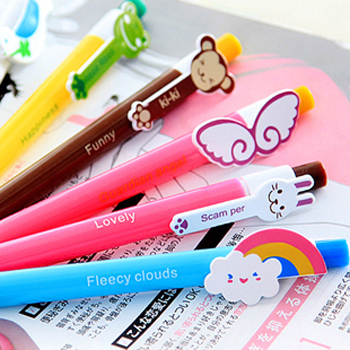 10pcs/lot 6 designs Cute Cartoon Kawaii Novelty Ballpoint Pens Lovely Cat Bird Ball Pen Korean Stationery Free shipping 109(China (Mainland))