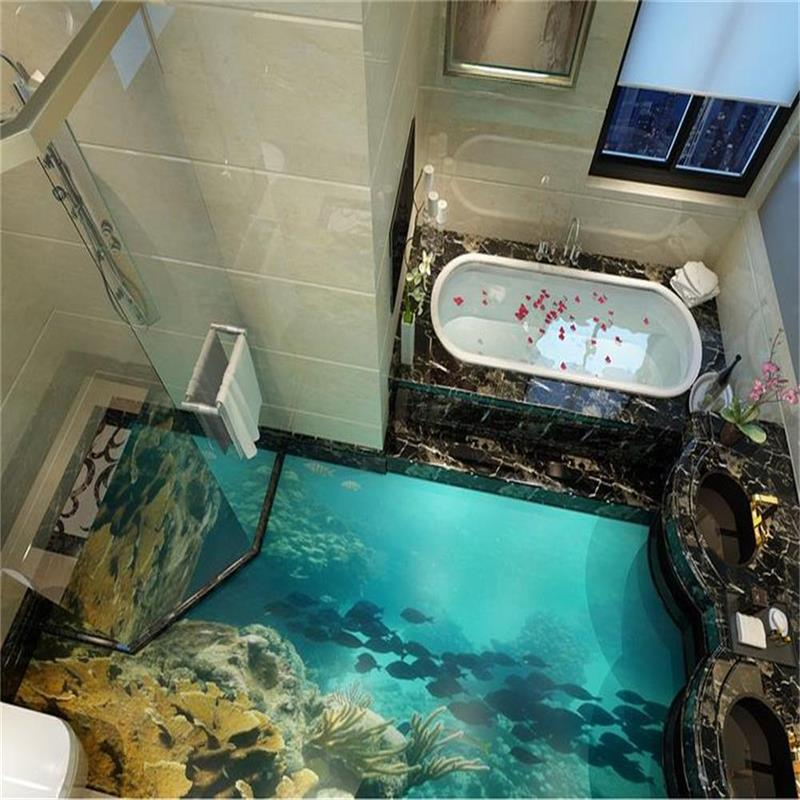 3d flooring murals custom photo wallpaper sea world really for Epoxy boden 3d