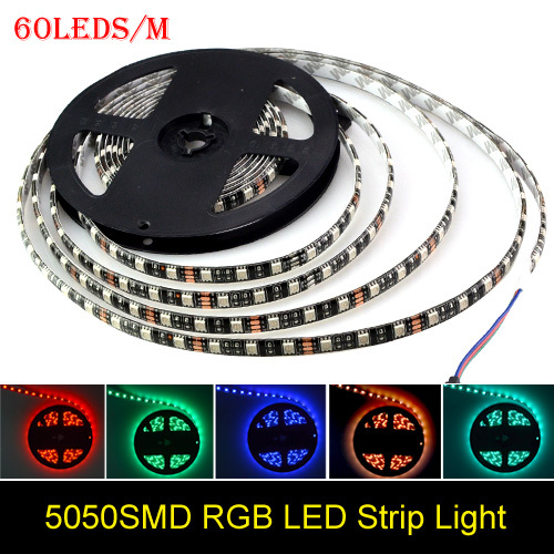 Black PCB Board DC 12V 5M 5050 SMD RGB 300 Led Flexible Strip String Light LED Ribbon Tape Roll Lamp Home Decoration Lighting(China (Mainland))