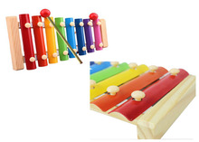 Kid Child 8 tone Xylophone Toys Gift Wisdom Development Wooden Colorful Early Educational drum sticks(China (Mainland))