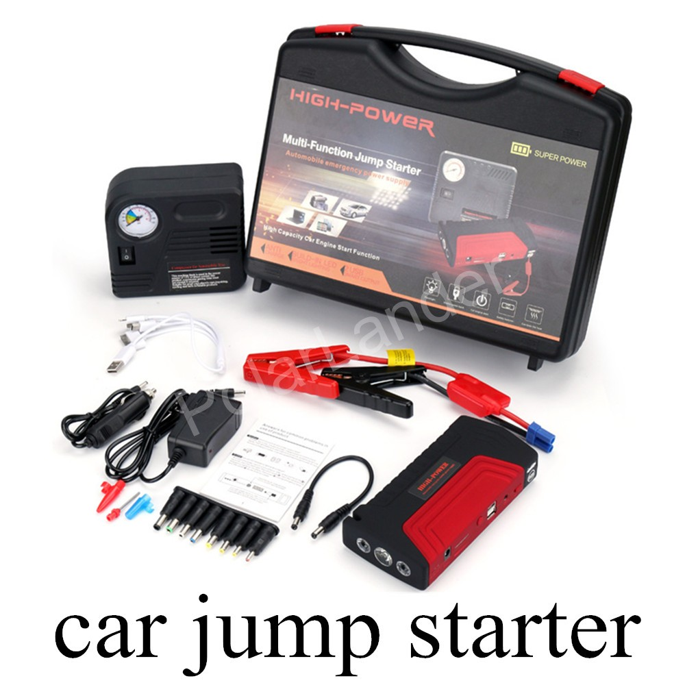 high quality 12V Car Jump Starter 50800mah Emergency Start 12V Petrol Engine Multi-Function 2 USB Car Power Bank with pump(China (Mainland))