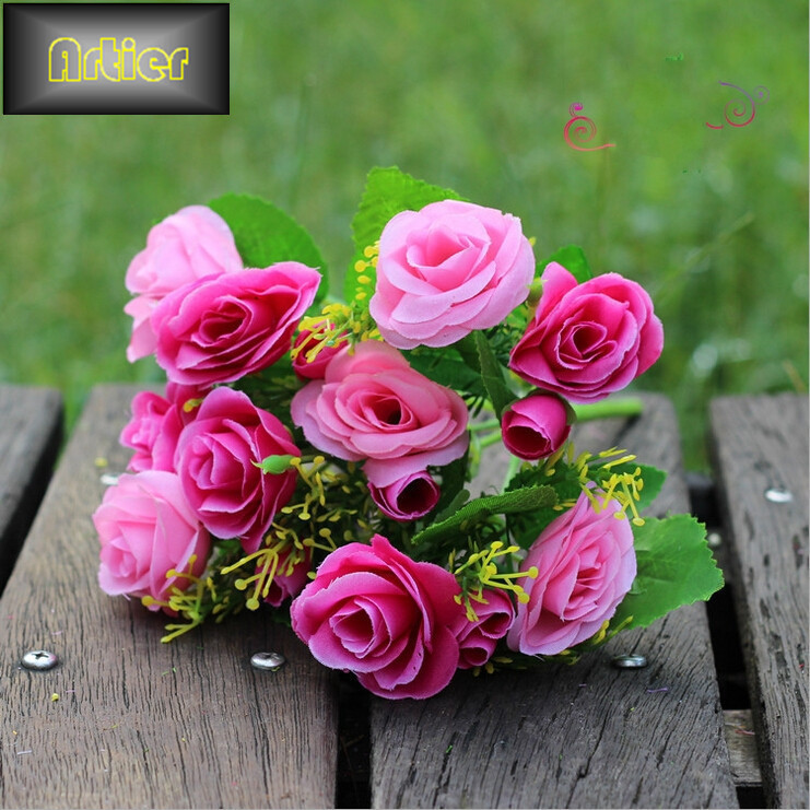 15 small roses valentine simulation living room decorative artificial flowers silk flower plant placed AJ0568(China (Mainland))