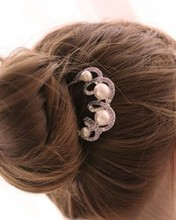 Buy jewelry wholesale imitation Pearl rhinestone hair fork hairpin comb pin hair jewelry bridal tiara comb hair Free for $1.46 in AliExpress store