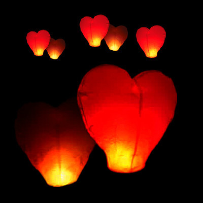 10Pcs Red Heart shape Sky Lanterns Chinese globos Wish paper lanterns wedding air Balloons for party decorations(China (Mainland))