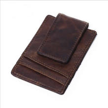 Buy Men Genuine Crazy Horse Leather Wallet Business Casual Credit Card ID Holder Strong Magnet Money Clip for $10.56 in AliExpress store