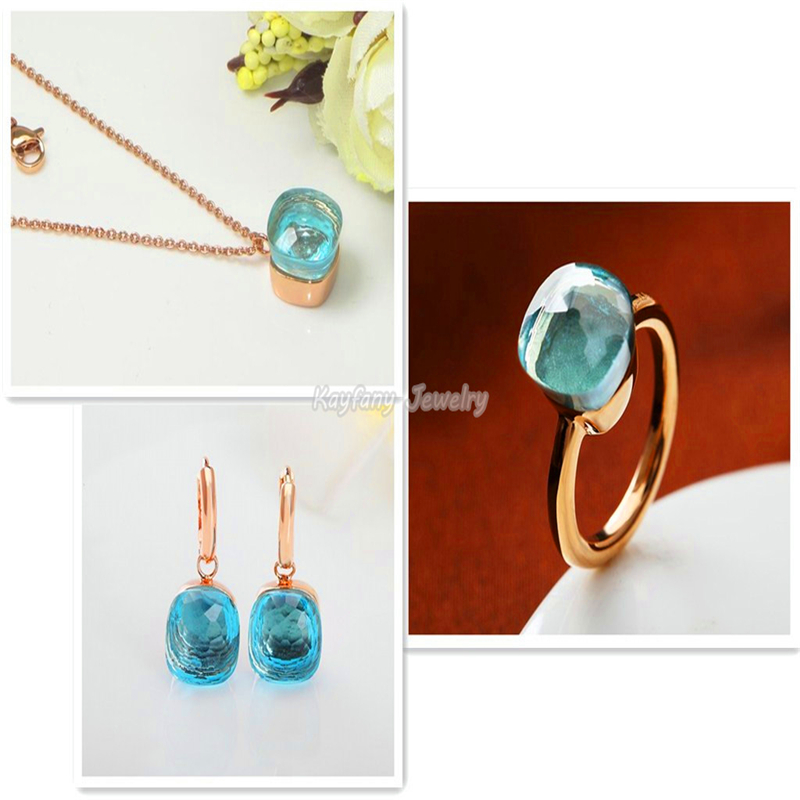 Discount Pomellato Sets Rose Gold Plated Sky Blue Crystal Sapphire Jewelry Party Communion Gift Christmas Bijoux Bagues Femme