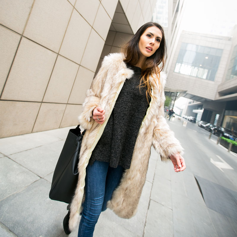 Фотография Fox fur ultra long coat