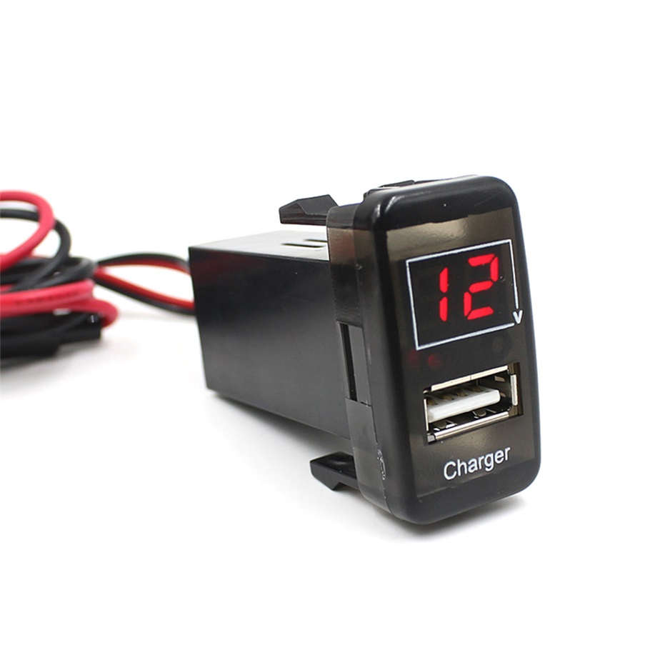 car usb socket 5V 2.1A USB Port Dashboard Voltmeter Phone Charger For TOYOTA VIGO car charger(China (Mainland))