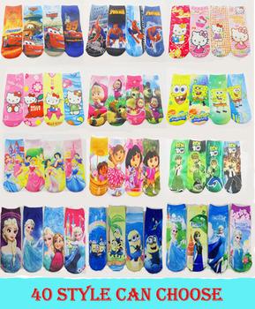 6pairs/lot length 7 Inch  Children Gift--Spider man Kids  sport  knitted Children sock, girls Kitty sock,baby cartoon socks