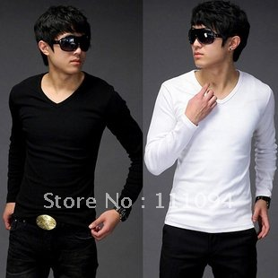 Men's clothing base fashion man Pure color v-neck t-shirts slim fit,eight colors ,size M-XXL - store
