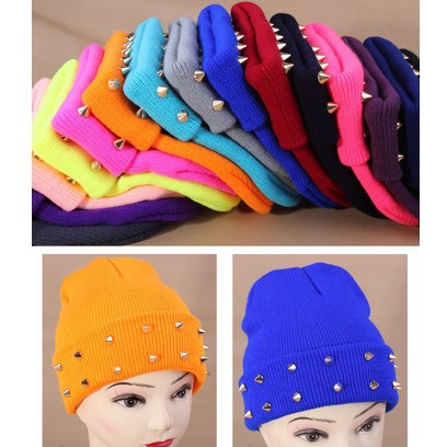 Fashion Style Candy 14 Colors Skullies Beanie Hat Turban Unisex Knitted Hat Cap Plastic Rivets Casual Gorras Free Shipping 1MZ05(China (Mainland))