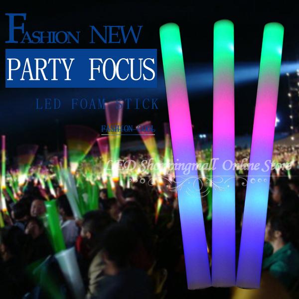 LED light foam stick 30pcs/lot ,3 modes multi Colors changing glow foam stick flashing stick for party Christmas festival(China (Mainland))