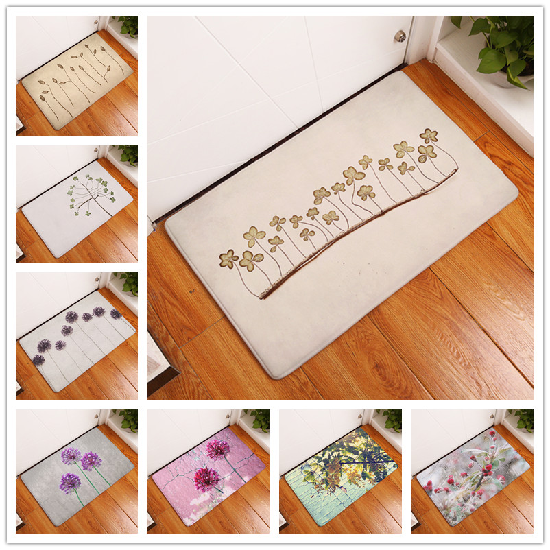New Anti-Slip Carpets Plant Leaves And Flowers Print Mats Bathroom Floor Kitchen Rugs 40X60 50X80cm(China (Mainland))