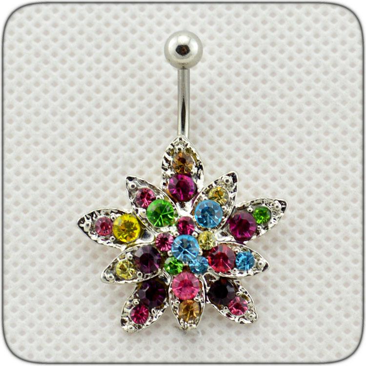 Wood Body Jewelry, Delicate Mini Sunflowers Sparkling Rhinestone Navel Decoration dq0105(China (Mainland))