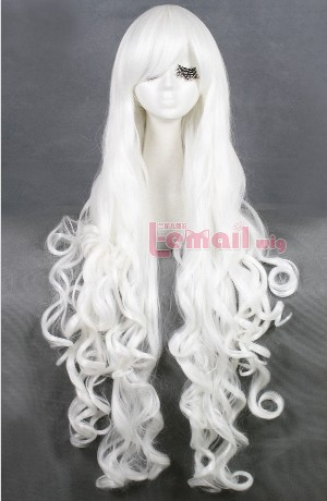 Hot Selling Synthetic High Temp Fiber wavy 100cm women long white cosplay wig CB64D(China (Mainland))
