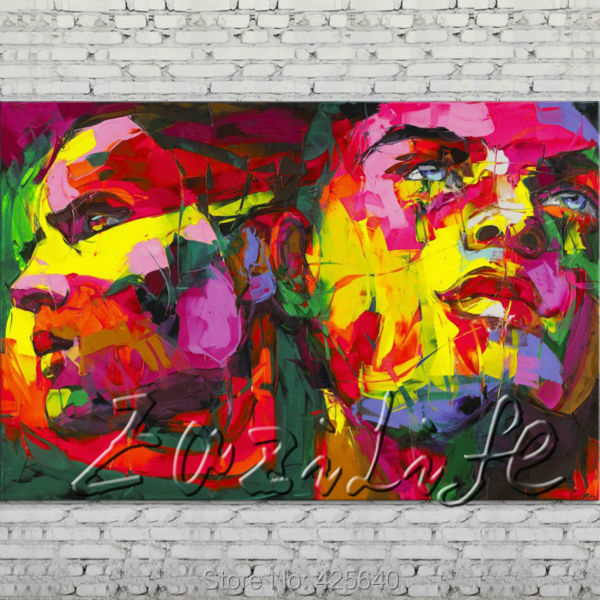 Buy Palette knife portrait Face Oil painting Character figure canvas Hand painted Francoise Nielly wall Art picture 509 cheap