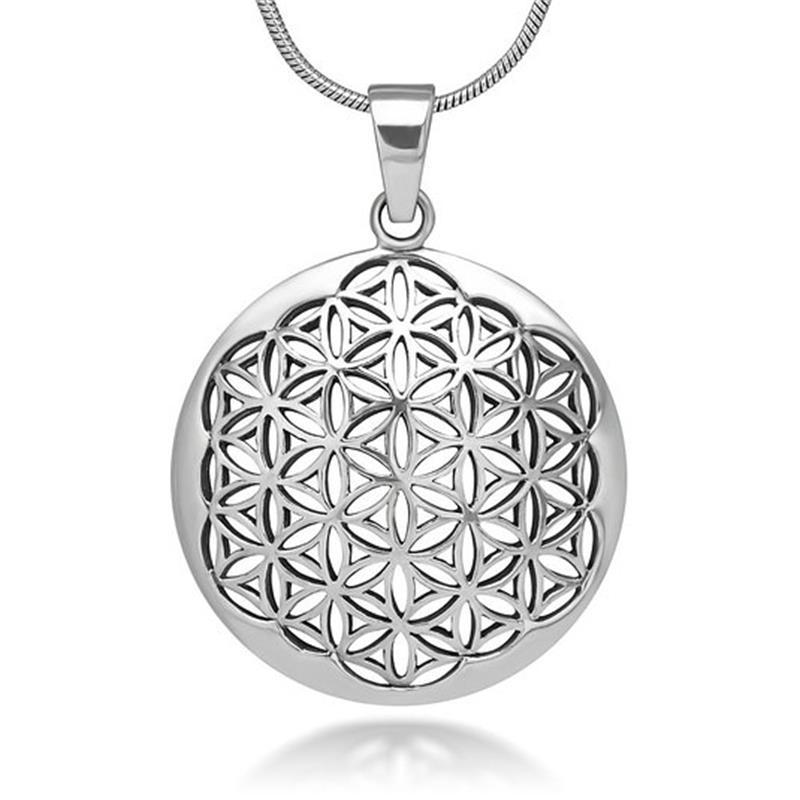 Silver Plated Flower of Life Pendant Necklace Om Symbol Mandala Hexagon Sacred Geometry Jewelry Fleur De Vie for Women(China (Mainland))