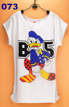 2015 Women Striped mouse T Shirts Short Sleeve Cartoon Tee Anchor Printed Tops Cotton Owl T-Shirts lady tops(China (Mainland))