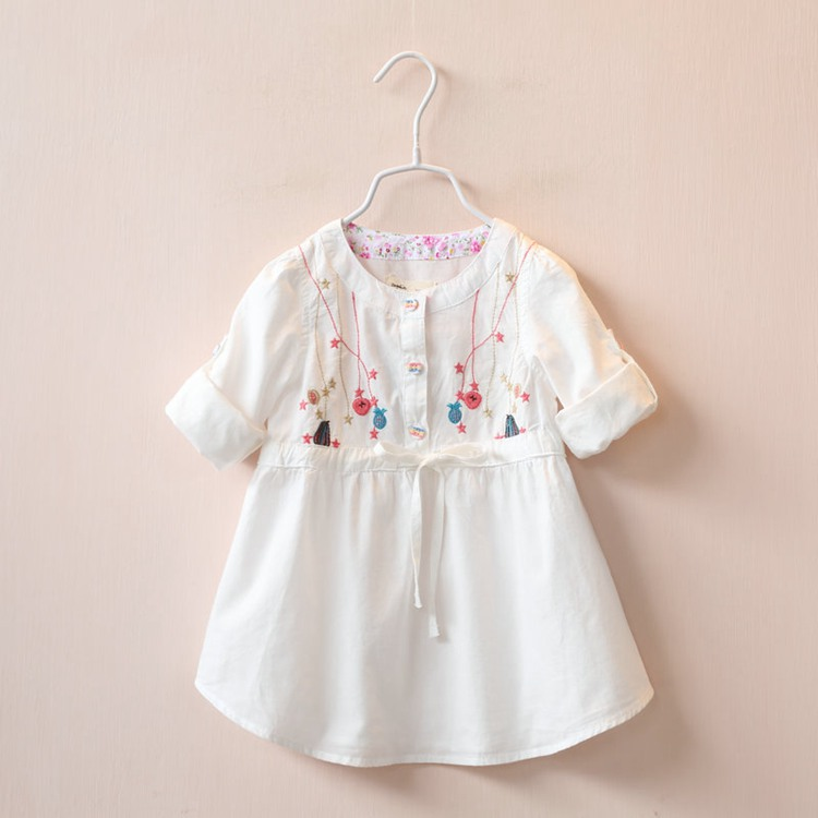 2016 spring new European style childrens clothing girls dress embroidered waist dual-sleeve dresses girl clothes<br><br>Aliexpress