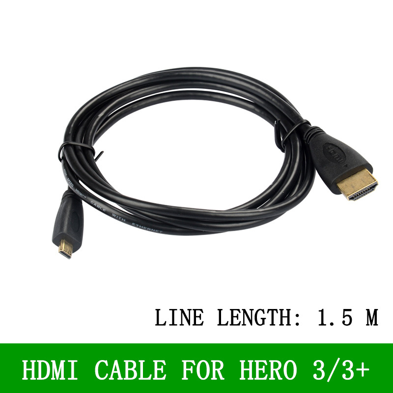 High speed 1.5m Male to Male HDMI to Micro HDMI Cable M/M Converter Cord for Gopro Hero 3 and 3 plus and other Digital Products(China (Mainland))