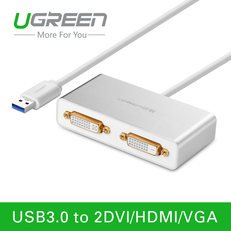 Ugreen USB 3.0 to Dual-DVI HDMI VGA External Multi-Display Adapter High Premium Converter Cable for Windows XP/Vista/7/8/8.1(China (Mainland))