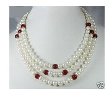 New 3 Rows Genuine 7-8 MM Pearls RED jade wedding/Party/Ball/Gift necklaces 14k gold plated Fine women jewelry free shipping(China (Mainland))